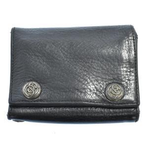 CHROME HEARTS(クロムハーツ)3FOLD/3フォールド フローラルボタンレザーウォレット財布 ブラック|shopbring