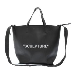 OFF-WHITE(オフホワイト)SCULPTURE TOTE M スカルプチャープリントレザートートバッグ ブラック×ホワイト|shopbring