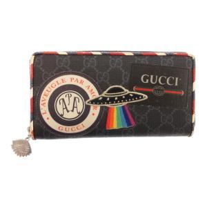 GUCCI (グッチ) GGスプリームナイトクーリエラウンドジップロングウォレット 496342-0959 ワッペン付きジッピー長財布 ブラック|shopbring