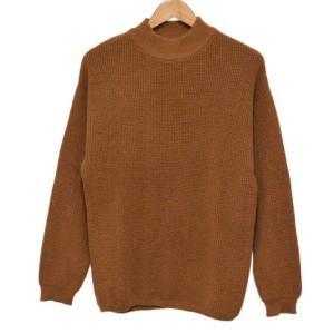 BEAMS(ビームス)ワッフルクルーネックニットセーター ブラウン|shopbring