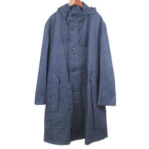 ANN DEMEULEMEESTER(アンドゥムルメステール)デニム地フード付きロングトレンチコート ジャケット インディゴ ブルー shopbring