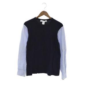 COMME des GARCONS SHIRT(コムデギャルソンシャツ)シャツスリーブ切替長袖Tシャツ ネイビー カットソー S14143|shopbring