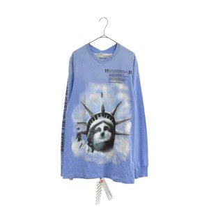 OFF-WHITE(オフホワイト)18AW LIBERTY L/S TEE リバティ ロングスリーブ 長袖 Tシャツ カットソー TEE ブルー OMAB001E18185015|shopbring