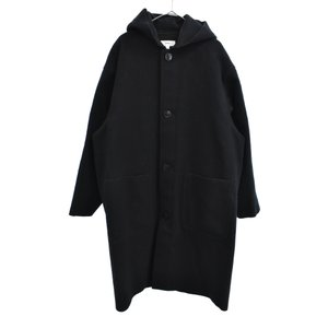 HYKE(ハイク)14AW メルトン フーデット ロング コート ジャケット ブラック 142-17029|shopbring