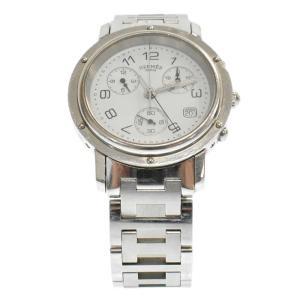 HERMES(エルメス)クリッパー CL1.910 ホワイト文字盤 デイト クロノグラフ クォーツ ステンレス 腕時計 メンズウォッチ|shopbring