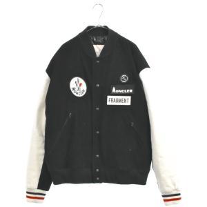 MONCLER(モンクレール)18AW×FRAGMENT Hiroshi Fujiwara フラグメント コーデュロイ 袖レザースタジャン ジャケット ブラック ホワイト|shopbring