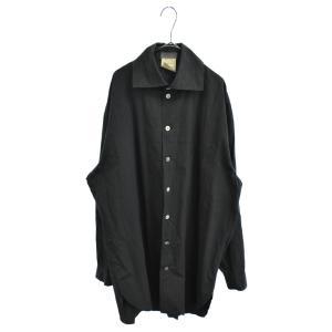 Yohji Yamamoto POUR HOMME (ヨウジヤマモト プールオム) 旧丸ロゴ 胸ポケット付きストライプロングスリーブシャツコート グレー|shopbring