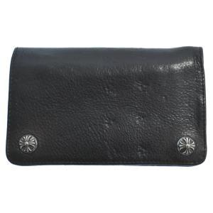 CHROME HEARTS (クロムハーツ) 1ZIP クロスボールボタンレザー二つ折財布 ブラック ショートウォレット|shopbring