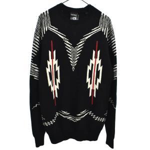 MARCELO BURLON (マルセロバーロン) 総柄クルーネックニットセーター ブラック|shopbring