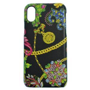 VERSACE (ヴェルサーチ) 総柄iPhone10用ケース ブラック|shopbring