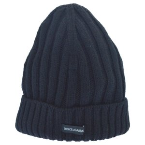 DOLCE & GABBANA(ドルチェアンドガッバーナ)ロゴワッペン付きニットビーニー キャップ 帽子 ブラック|shopbring