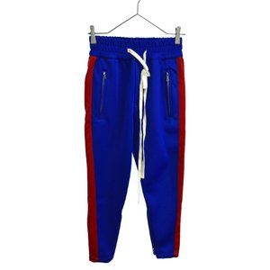 MOON AGE DEVILMENT(ムーンエイジデビルメント)サイドラインイージートラックロングパンツ ブルー レッド 裾ジップ shopbring