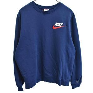SUPREME(シュプリーム)18AW ×NIKE Crewneck Sweatshirt レザースウォッシュロゴクルーネックスウェットトレーナー ネイビー ナイキ|shopbring