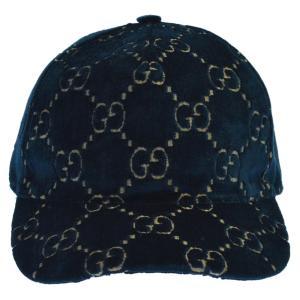 GUCCI (グッチ) 18AW ベロアGG総柄5パネルキャップ ネイビー|shopbring