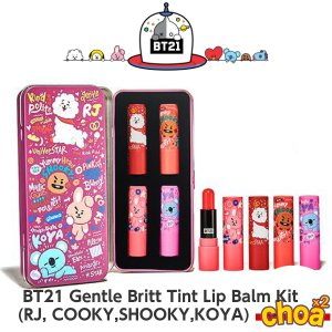 BT21 Gentle Britt Tint Lip Balm Kit [RJ, SHOOKY,COOKY,KOYA] 4P BTS-防弾少年団 BT21コラボ公式商品 バンタン bts 公式グッズ|shopchoax2
