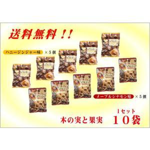 新発売! 「送料無料キャンペーン♪」 自然がいっぱい木の実と果実(ハニージンジャー味・メープルシナモン味各5袋)10袋セット|shopd-1