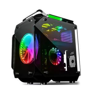 COOLMAN ミドルタワー PCケース ATX MicroATX対応 強化ガラス フルスケルトン仕様 VRゲーミング 20cm RGBファン2個付属|shopduo