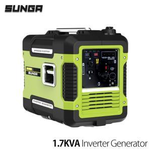 SUNGA インバーター発電機 1.7KVA 1700VA 最大1.88KVA 正弦波 50Hz/60Hz切替 USB出力 防音・静音設計 発電機|shopduo