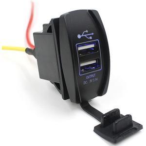 2ポート搭載 小型 USB バッテリー チャージャー 防水 高出力 3100mA バイク 用 充電 12V 24V 兼用  ET-USBCHERG|shopeast