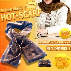 ホットスカーフ ヒーター内蔵 マフラー USB 暖める 防寒 暖房 デスク 会社 パソコン ET-HOTSCAF|shopeast