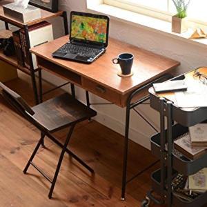 デスク 86cm幅 アンティーク加工 天然木 桐 パソコンデスク 木製 PCデスク 書斎 モダン 机 ミッドセンチュリー 引き出し 収納 ブラウン レトロ調 おしゃれ|shopfamous