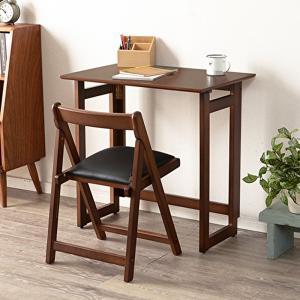 折りたたみデスクセット ダークブラウン デスク&チェア 机  椅子 おしゃれ|shopfamous