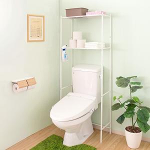 トイレのタンク上に設置して空いたスペースを有効活用できる、ホワイトアイアンのトイレ上ラック。 2段の...