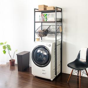 洗濯機周りに洗剤や洗濯バサミなど小物の収納にお困りの方にオススメのランドリーラック。 横幅65〜90...