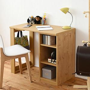 デスク おしゃれ コンパクト 机 収納ラック付き 大人の勉強机 書斎机 リビングデスク 木製 省スペース 幅90|shopfamous