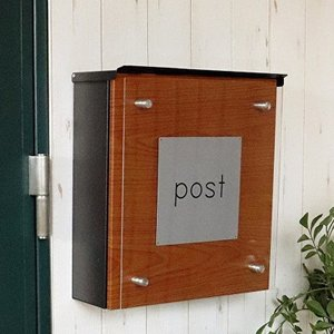 ポスト ブラック 壁掛け 鍵付き 郵便ポスト 壁付け 北欧 郵便受け 壁掛けポスト アクリル板 木目 おしゃれ|shopfamous