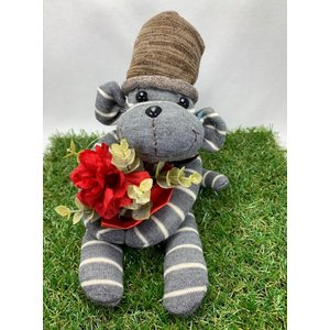 【Freddo】ソック モンキー サル 靴下 ぬいぐるみ 母の日 出産祝 お誕生日プレゼント ギフト フラワー 花束 カーネンション ユーカリ ラッピング無料 手作り 1|shopfreddo