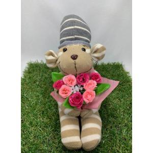 【Freddo】ソック モンキー サル 靴下 ぬいぐるみ 母の日 出産祝 お誕生日プレゼント ギフト フラワー 花束 スプレーバラ ラッピング無料 手作り 2|shopfreddo