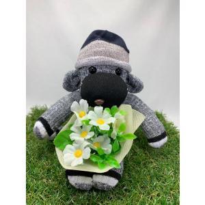 【Freddo】ソック モンキー サル 靴下 ぬいぐるみ 母の日 出産祝 お誕生日プレゼント ギフト フラワー 花束 ロザリア ラッピング無料 手作り 3|shopfreddo