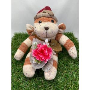 【Freddo】ソック モンキー サル 靴下 ぬいぐるみ 母の日 出産祝 お誕生日プレゼント ギフト フラワー 花束 カーネーション ラッピング無料 手作り 8|shopfreddo