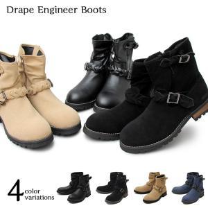 メンズブーツ エンジニアブーツ ワークブーツ サイドジップ ミドルブーツ ブーツイン ベルト 低反発 人気 シンプル 靴 スウェード スエード デニム|shopfreddo
