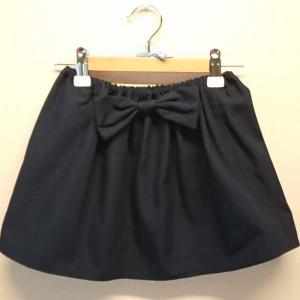 【Saana Gallery】 キッズフレアスカート ウエストゴム リボン付き 濃紺 [5-G] 【メール便対応】|shopfreddo