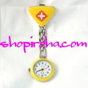 ナースウォッチ 黄色 三角 文字盤が逆さ クリップ 簡単取り外し 看護師さん 介護士さん 必見の時計...