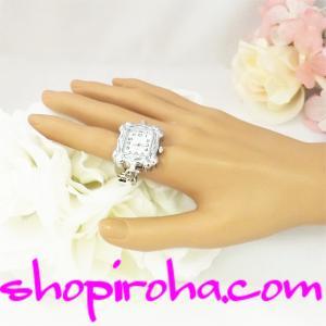 指輪時計 オシャレな鎖のリングウォッチ 銀色22x24角shopiroha.comオリジナル方式指時計