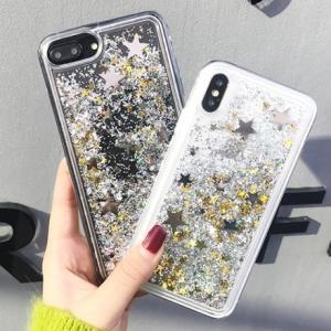 0d6bf9931a iPhone ケース カバー x 10 8 7 6 6s plus 動く ラメ スパンコール ホログラム キラキラ 星 スター オシャレ sd-0134