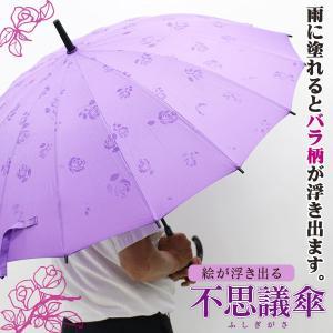 雨傘 あら不思議!? 雨に濡れるとバラが浮き出る不思議な傘 バラ柄 16本骨傘|shopkazu