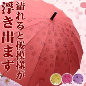 雨傘 あら不思議!? 雨に濡れるとさくら模様が浮き出る不思議な傘 桜16本骨傘|shopkazu