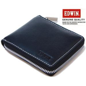 エドウィン EDWIN (牛革) レザーラウンドファスナーショートウォレット/RF折財布/二つ折り財布 エドウイン 0510484-BK ブラック |shopkazu