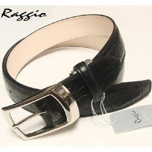 Raggioラッジオ イタリアンレザー クロコ型押しベルト 12201 ブラック|shopkazu