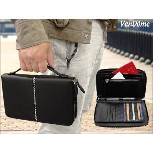 Ven Dome(ヴァンドーム) パイソンラインシリーズ 2ルーム ダブルファスナー持ち手付きシステムウォレット 本牛革多機能 長財布 ミニセカンドバッグ VD2001 |shopkazu
