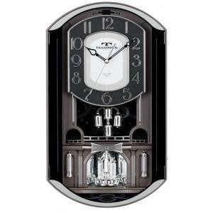 TECHNOS(テクノス)インテリア からくり壁掛け時計 W-541 GYM(グレーメタリック) 18曲メロディクロック|shopkazu