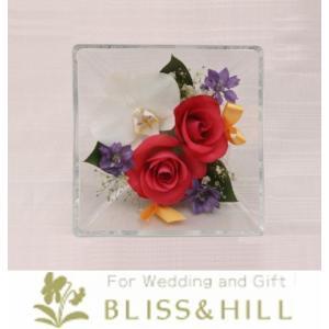 【送料無料】【代引き配送・ギフト対応 不可】 Bliss&Hill  グラスフラワー Sサイズ【JS-PK】 W14.3  H14.3  D8.6cm 【日本製】|shopkurasu