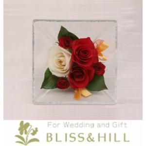 【送料無料】【代引き配送・ギフト対応 不可】 Bliss&Hill  グラスフラワー Sサイズ【JS-R】 W14.3  H14.3  D8.6cm 【日本製】|shopkurasu