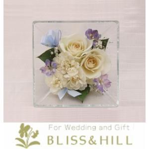 【送料無料】【代引き配送・ギフト対応 不可】 Bliss&Hill  グラスフラワー Sサイズ【JS-W】 W14.3  H14.3  D8.6cm 【日本製】|shopkurasu