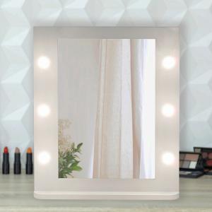アクトレス ミラー  デスクミラー LED付 照明付 卓上ミラー メイクミラー 木製 化粧鏡 女優ミ...