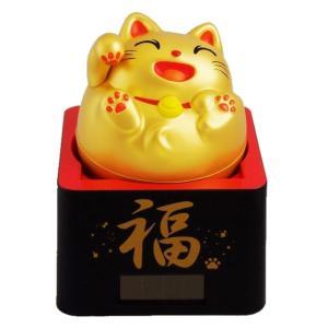 (送料無料)ソーラー招き猫 縁起が良い福枡に入った「福ます招き猫」(金)|shopnext